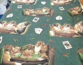 Reclaimed Pillowcases / Reclaimed Bed Linens / Dogs Playing Poker Free Shipping