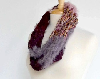 Big Stitch Chunky String Scarf, Pink Lavender Wine Neckwarmer