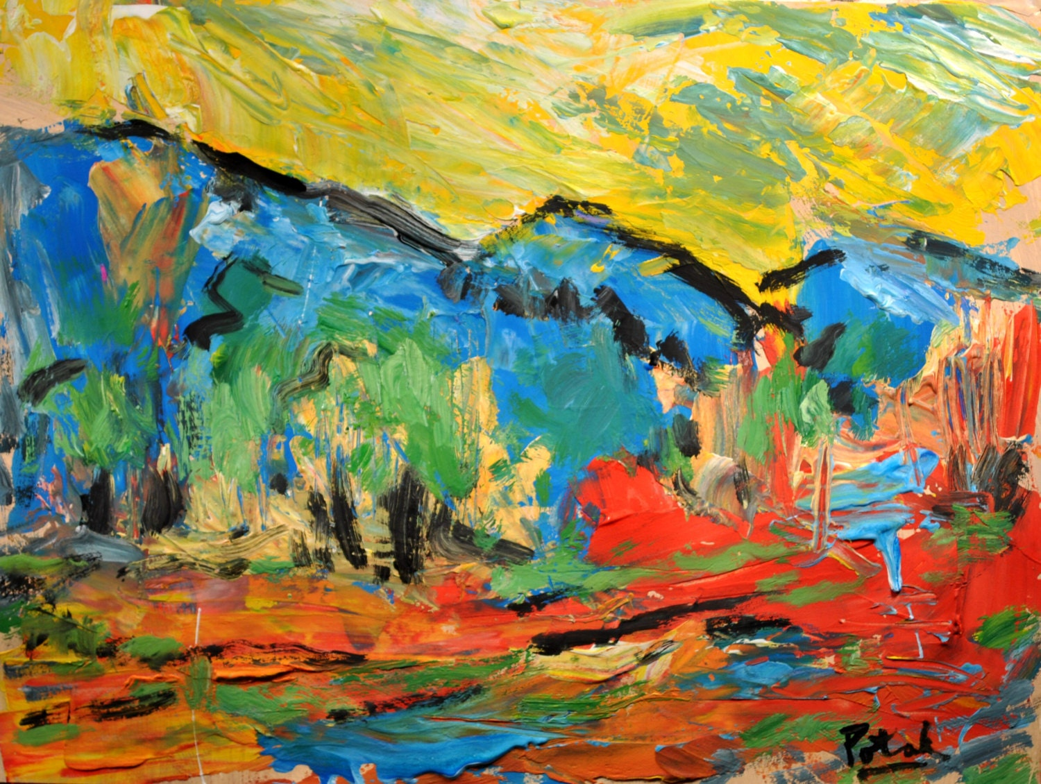 fauvist_Items similar to Modern Abstract Painting Fauvist Style Landscape, Yellow, Red, Blue ...