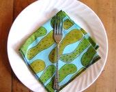 pickle napkin original  textile design aqua green