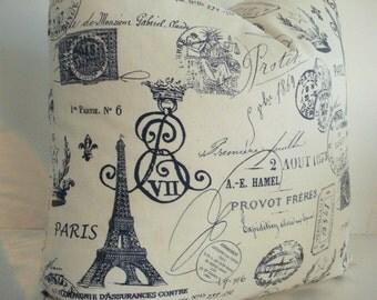 BOTH Sides -French Script-  Designer Decorative Pillow Cover--Accent Pillow -Paris Motifs Design --Navy / Creamy Ivory Throw/Lumbar Pillow