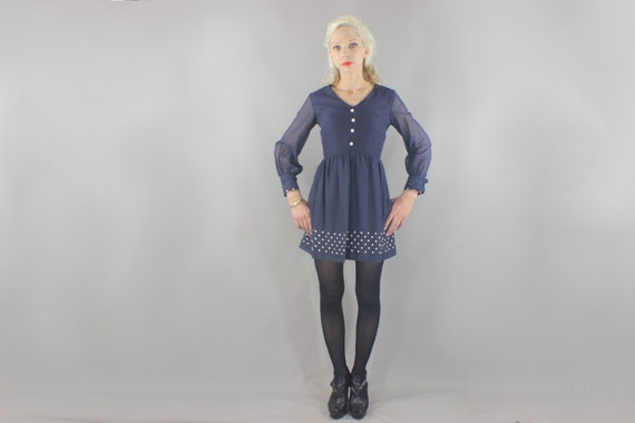 1960's Mini Dress / Vintage Navy Blue Mod Dress / Polka Dotted Short Dress