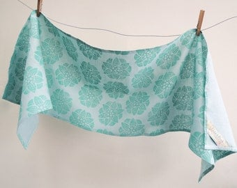 Water lily folk art hand block printed muted aquamarine on pale aqua linen geometric floral botanical home decor table runner