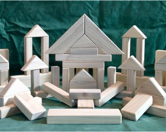 116 Classic Wood Building Blocks - Handcarfted Natural Wood Toy Blocks - LOWEST PRICE on ETSY - Priced reduced 20% to 39.99