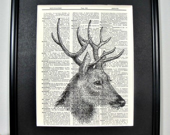 FRAMED Vintage Dictionary Print - Woodland Series - Deer