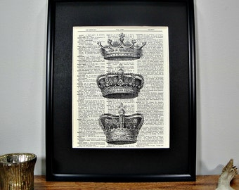 FRAMED 11x14 - Vintage Book Page Dictionary Print - Crown Trio