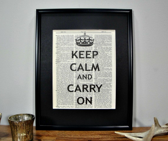 FRAMED 11x14 - Vintage Book Page Dictionary Print - Keep Calm and Carry On