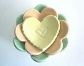 Nesting ring  dish set, ring holder, candle holder, heart dish, handmade