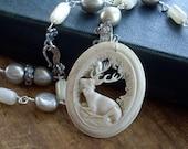 RESERVED   My Deer  Antique Carved Bone Deer Pendant Pearls Rhinestone Necklace