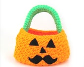 Trick or Treat Pumpkin Mustache Bag Crochet Pattern INSTANT DOWNLOAD - cuddlebugkids