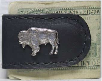 Handcrafted Leather Money Clip with Buffalo Concho