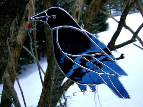 Crow Raven Black Birds Stained Glass Suncatcher Christmas Yule Cherry Berries Mothers Pagan Halloween Wedding Housewarming Original Design©