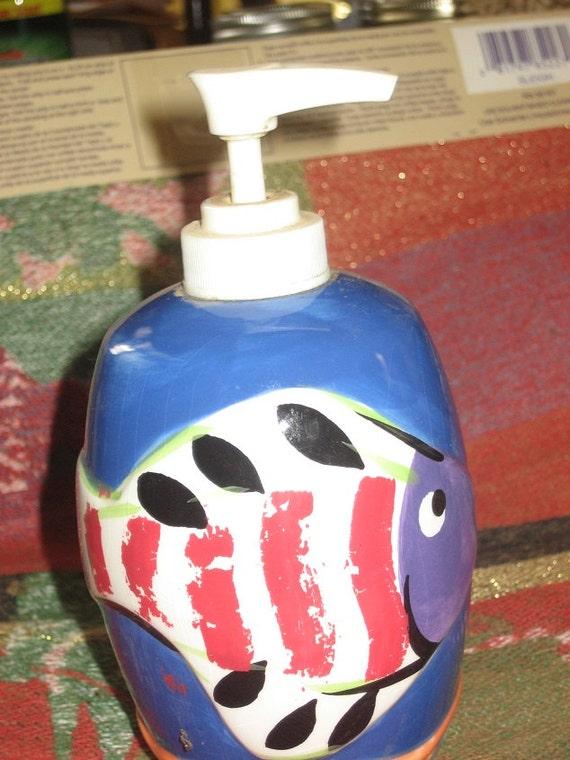 Items similar to fish soap dispenser in blue red black for Fish soap dispenser