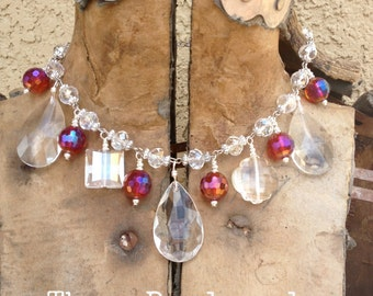 Chandelier and Chinese Crystal Faceted Necklace