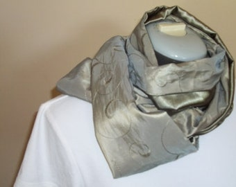 Reversible Scarf ~ Satin Scarf ~ Taffeta Scarf ~ Sage Green Scarf ~ Embroidered Scarf