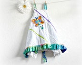 Reversible Jumper 5T 6 Girl's White Dress Butterfly Applique Apron Style Blue Ruffles Kid's Clothing Ombre Green 'CHLOE'