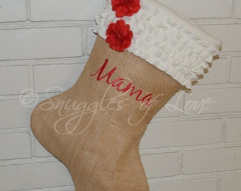 Burlap Stocking with Embroidery - Shabby Chic Stocking - Personalized Burlap Christmas Stocking - Cream Ruffles & Red Burlap Flowers