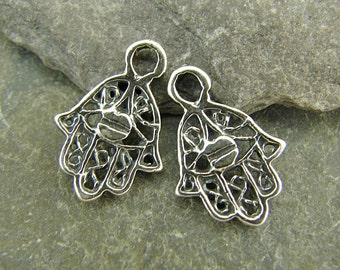 Tiny Talisman - Sterling Silver Protection From Evil Hand Charms - One Pair - ctth