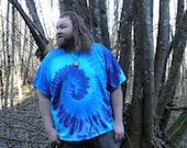 The Blues Spiral Tie Dye T-Shirt (Made By Hippies Tie Dye In Stock  in Sizes Small to 4XL) (Fruit of the Loom)