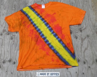 Yellow Bandolier on Orange Tie Dye T-Shirt (Fruit of the Loom Size XL) (One of a Kind)