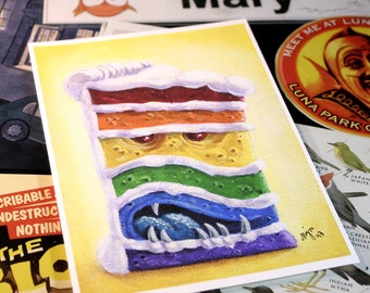 Rainbow Layer Cake - 5 x 7 inch Devious Dessert Rainbow Layer Cake Archival Digital Print