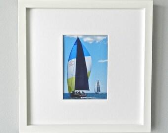 Framed Sailboat Photography, Sailing Print, Sailboat Beach Decor, Nautical Wall Art, Blue White & Yellow Coastal Art, White Framed Art Print