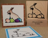 BUNNY and EGGS-Wood Mounted Rubber Stamp (mcrs 24-16)