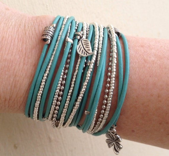Turquoise Leather Wrap Bracelet - Turquoise Armlet - Leather Wrap Bangle - Boho Leather Gifts for Her - Choose FOUR Charms - Customizeable