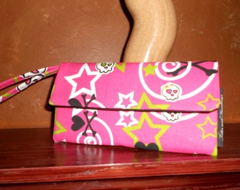 Wallet /  Wristlet / Checkbook Pouch / Cell Phone / Skull and Bones and Stars in Candy Pink