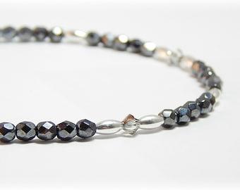 Anklet, Ankle Bracelet, Sterling Silver Anklet, Swarovski Crystal Anklet, Adjustable Ankle Bracelet for Women