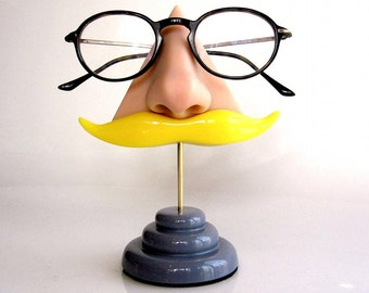 Nose eyeglass stand, Blond mustache, Eyewear display, Men gift, quirky unusual funny home decor