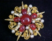 Dramatic CARNELIAN Glass Cabochons ~ Diamante& Simulated Pearl Brooch ~ Signed ART