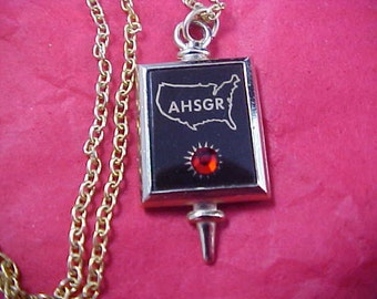 German Ruby Pendant and Gild Plate Chain