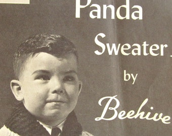1950's Panda Sweater Pattern, Kids, Chieftain Number 45, Cardigan, Sizes 2 to 6, Beehive, Knitting Pattern, DIY, Sweater Coat, Zipper Front