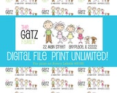 Stick Figure Personalized Return Labels  - DIGITAL FILE of 30 LABELS