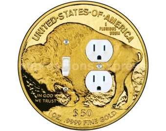 Gold Bullion Coin Toggle Switch and Duplex Outlet Double Plate Cover