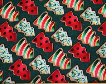 Fat Quarter Cute Christmas Tree Sugar Cookie Fabric