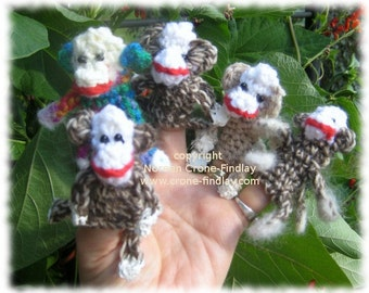Crocheted Sock Monkey Finger Puppet Pattern by Noreen Crone-Findlay