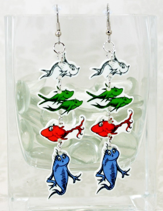 one fish two fish fish blue fish earrings by