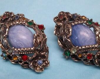 Vintage antique silver rhinestone clip on earrings,antique silver clip ons,rhinestone earrings,blue cabochon earrings,rhinestone clip ons