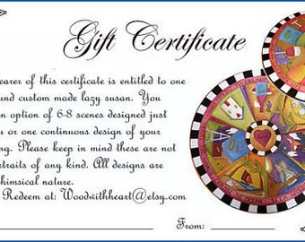 "PERSONALIZED LAZY SUSAN - Stocking Stuffers - 20"" diameter - Lazy Susan - Custom Order - Gift Certificate/Custom Lazy Susan/ Personalized"