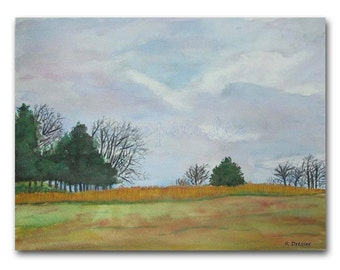Rustic Landscape Watercolor Painting 9x12 Original Fine Art in Mat Contemporary Virginia Scenery Nature Autumn Field Trees Clouds Wall Decor