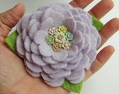 Lambswool Angora Flower Brooch Pin - Soft Lavender Purple with Vintage Earring Center
