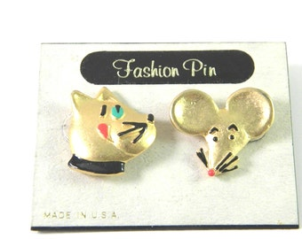 Cute AJC Vintage Figural Cat and Mouse lapel Pins