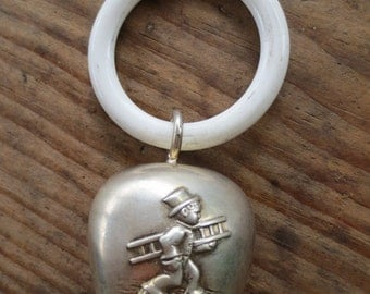 SALE Antique Baby Rattle Metal and Plastic Silvetone Rattle Teething Ring