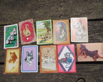 10 Vintage Dog Playing Cards Puppy Cards