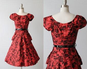 Vintage 1950s Red and Black  Dress / 50s Dress / Swing Dress / Full Skirt / Tender is the Night