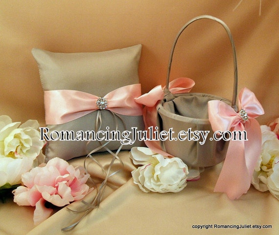 Bridal Satin and Sash Ring Bearer Pillow and Basket set with Rhinestone Accents...Your Color Choice..shown in silver gray/pale pink
