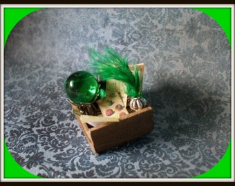 Gothic Witch aged spell crate dollhouse miniature OOAK Halloween