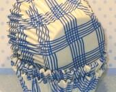 MINI Blue and White Plaid Cupcake Liners  (50)